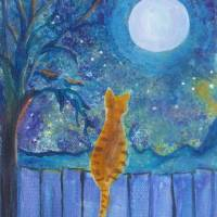 """Cat on a fence in the moonlight"" by Paintings By Gretzky"
