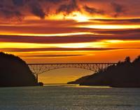 Deception Pass Bridge on Fire