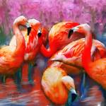 """Flaming Flamingos, Digital Art"" by tedazrielgraphicart"