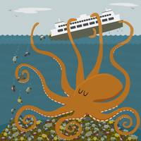 Giant octopus tips a ferry
