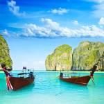"""""""Longtail boats at Maya bay"""" by MotHaiBaPhoto"""