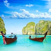Longtail boats at Maya bay