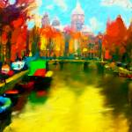 """Amsterdam Canal, Digital oil painting"" by tedazrielgraphicart"