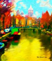 Amsterdam Canal, Digital oil painting