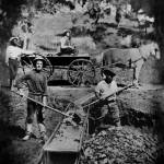 """Gold Miners working the Sluice Box, 1849"" by worldwidearchive"