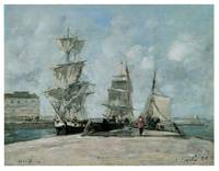 Quay at Honfleur by Eugene Boudin