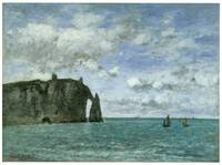 Etretat, the Porte d'Aval by Eugene Boudin