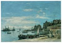 Quay at Villefranche by Eugene Boudin
