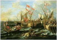 Battle of Actium in 31 BC by Lorenzo Castro
