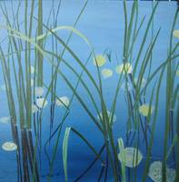 Reeds and Leaves in Water