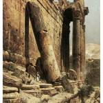 """Ruined Temple in Baalbeck by Gustav Bauernfeind"" by ArtLoversOnline"