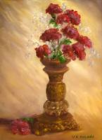 Still Life Impressionist Art; Red Flowers