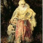 """Oriental Woman and Her Daughter by de la Pena"" by ArtLoversOnline"