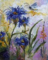 Cornflowers Provence Oil Painting by Ginette