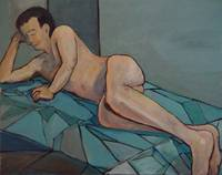 Nude Male Reclining on Blue Coverlet