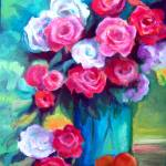 """Roses in Blue Vase"" by lynneolivier"
