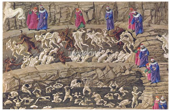 Botticelli Map of Hell - Explore Dante's Inferno Drawings |Dantes Inferno Painting Botticelli