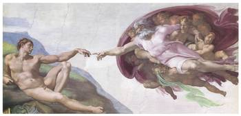 The Creation of Adam (detail) by Michelangelo