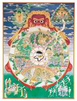 Buddhist Wheel of Life held by Yama, Lord of Death