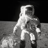 Alan L. Bean during Moonwalk, Apollo 12, 1969