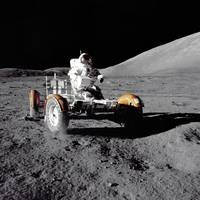 Eugene A. Cernan driving Lunar Roving Vehicle