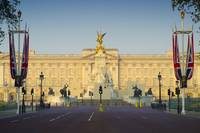 Buckingham Palace and flags for Royal Wedding.