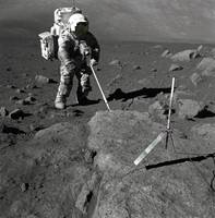 Harrison Schmitt takes Samples of Moon Crust