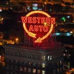 """Western Auto sign at night, 3 Sept 2010"" by photographybyROEVER"