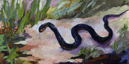 Black Indigo Snake Oil Painting by Ginette