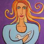 """the woman with a white dove"" by ClaudiaTuli"