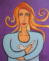 the woman with a white dove