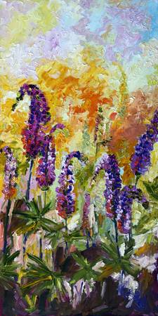 Impressionist Lupines Blue and Purple Flowers Gine