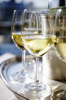 Close-up of a 3 glasses of white wine photograph