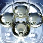 """Four Glasses of white wine sliver tray photograph"" by RF_Photography"