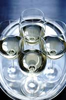 Four Glasses of white wine sliver tray photograph
