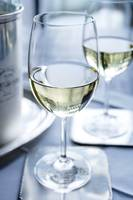 Glass of white wine with ice bucket photograph