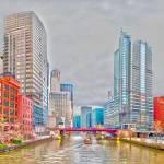 """chicago downtown @ river"" by digidreamgrafix"