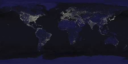 Space View of Lights at Night Around the World