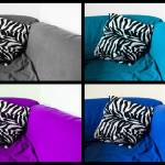 """blue tour of a zebra pillow"" by fazen"