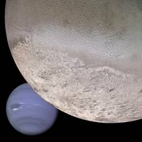 Triton with Neptune in Background