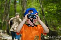 My son with binoculars