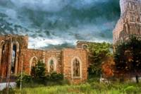 Ruins under stormy clouds