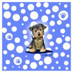 """""""Yorkie on Dotted Blue"""" by KiniArt"""