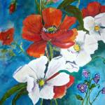 """Poppies and Dogwood"" by Yael"