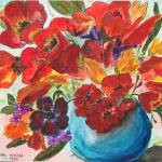 """Tulips in Blue Vase - SOLD TO PAT LOPEZ"" by Yael"