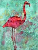 Mixed Media Collage Art, Flamingo Quarter Notes