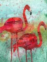 Mixed Media Collage, Flamingo Eight Notes