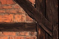 Prussian walll close-up texture (wood and bricks).