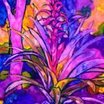 """bromelia on dark blue"" by anagoldberger"