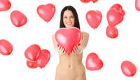 Beautiful nude girl with red heart balloon .